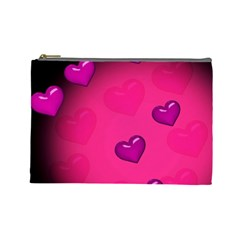 Pink Hearth Background Wallpaper Texture Cosmetic Bag (Large)
