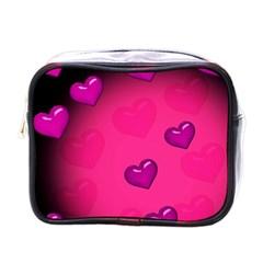 Pink Hearth Background Wallpaper Texture Mini Toiletries Bags