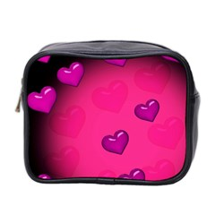 Pink Hearth Background Wallpaper Texture Mini Toiletries Bag 2 Side