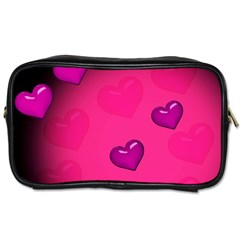 Pink Hearth Background Wallpaper Texture Toiletries Bags 2-Side