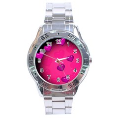 Pink Hearth Background Wallpaper Texture Stainless Steel Analogue Watch