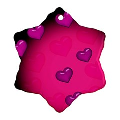 Pink Hearth Background Wallpaper Texture Ornament (snowflake)