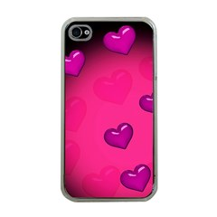 Pink Hearth Background Wallpaper Texture Apple iPhone 4 Case (Clear)