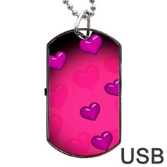 Pink Hearth Background Wallpaper Texture Dog Tag USB Flash (One Side)
