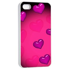 Pink Hearth Background Wallpaper Texture Apple iPhone 4/4s Seamless Case (White)