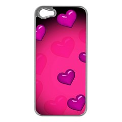 Pink Hearth Background Wallpaper Texture Apple iPhone 5 Case (Silver)