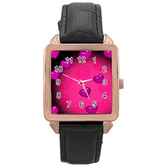 Pink Hearth Background Wallpaper Texture Rose Gold Leather Watch