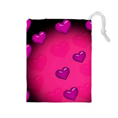 Pink Hearth Background Wallpaper Texture Drawstring Pouches (Large)