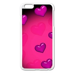 Pink Hearth Background Wallpaper Texture Apple Iphone 6 Plus/6s Plus Enamel White Case