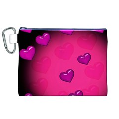 Pink Hearth Background Wallpaper Texture Canvas Cosmetic Bag (xl)