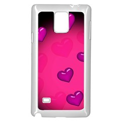 Pink Hearth Background Wallpaper Texture Samsung Galaxy Note 4 Case (white)