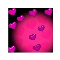 Pink Hearth Background Wallpaper Texture Small Satin Scarf (Square)