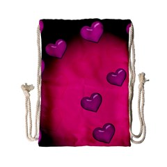 Pink Hearth Background Wallpaper Texture Drawstring Bag (Small)