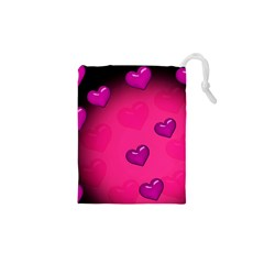 Pink Hearth Background Wallpaper Texture Drawstring Pouches (XS)
