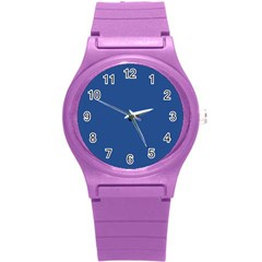 Delphinium Blue in an English Country Garden Round Plastic Sport Watch (S)