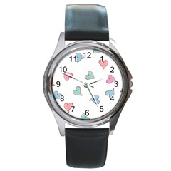 Colorful Random Hearts Round Metal Watch