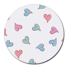 Colorful Random Hearts Round Mousepads