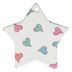 Colorful Random Hearts Ornament (Star)