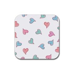 Colorful Random Hearts Rubber Coaster (Square)