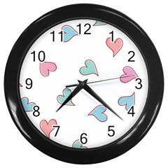 Colorful Random Hearts Wall Clocks (Black)