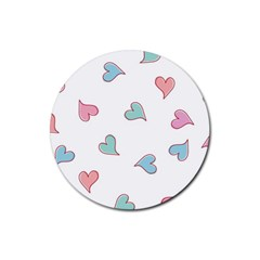Colorful Random Hearts Rubber Round Coaster (4 Pack)