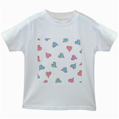 Colorful Random Hearts Kids White T Shirts