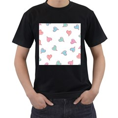 Colorful Random Hearts Men s T-Shirt (Black) (Two Sided)