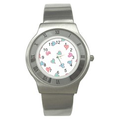 Colorful Random Hearts Stainless Steel Watch