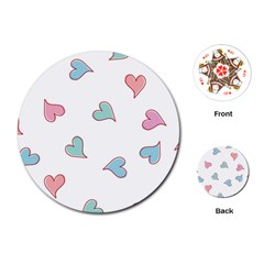 Colorful Random Hearts Playing Cards (round)