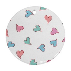 Colorful Random Hearts Round Ornament (Two Sides)