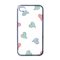 Colorful Random Hearts Apple iPhone 4 Case (Black)