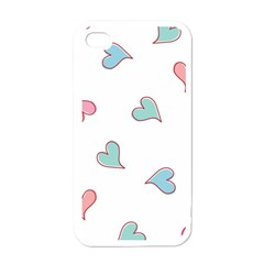Colorful Random Hearts Apple iPhone 4 Case (White)