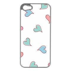 Colorful Random Hearts Apple iPhone 5 Case (Silver)
