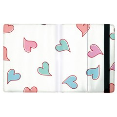 Colorful Random Hearts Apple Ipad 2 Flip Case