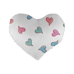 Colorful Random Hearts Standard 16  Premium Heart Shape Cushions
