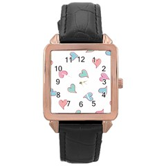 Colorful Random Hearts Rose Gold Leather Watch