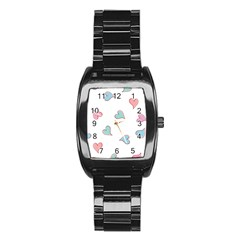 Colorful Random Hearts Stainless Steel Barrel Watch