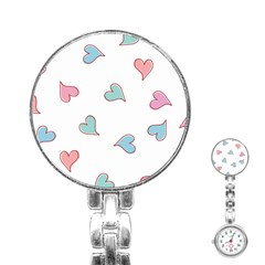 Colorful Random Hearts Stainless Steel Nurses Watch