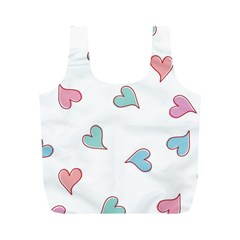 Colorful Random Hearts Full Print Recycle Bags (M)