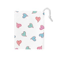 Colorful Random Hearts Drawstring Pouches (Medium)