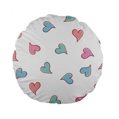 Colorful Random Hearts Standard 15  Premium Flano Round Cushions