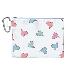 Colorful Random Hearts Canvas Cosmetic Bag (L)