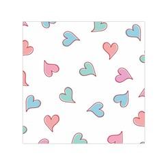 Colorful Random Hearts Small Satin Scarf (Square)