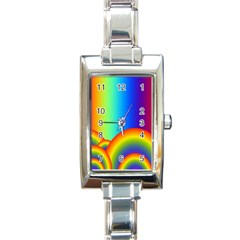 Background Rainbow Rectangle Italian Charm Watch