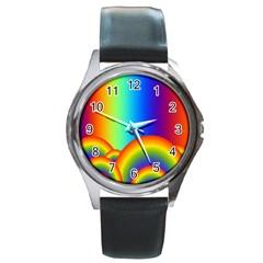 Background Rainbow Round Metal Watch