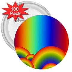 Background Rainbow 3  Buttons (100 pack)