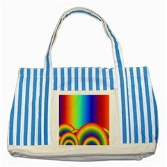 Background Rainbow Striped Blue Tote Bag