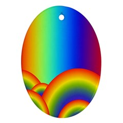 Background Rainbow Oval Ornament (Two Sides)