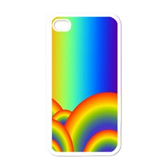 Background Rainbow Apple Iphone 4 Case (white)