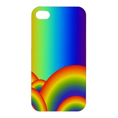 Background Rainbow Apple Iphone 4/4s Premium Hardshell Case